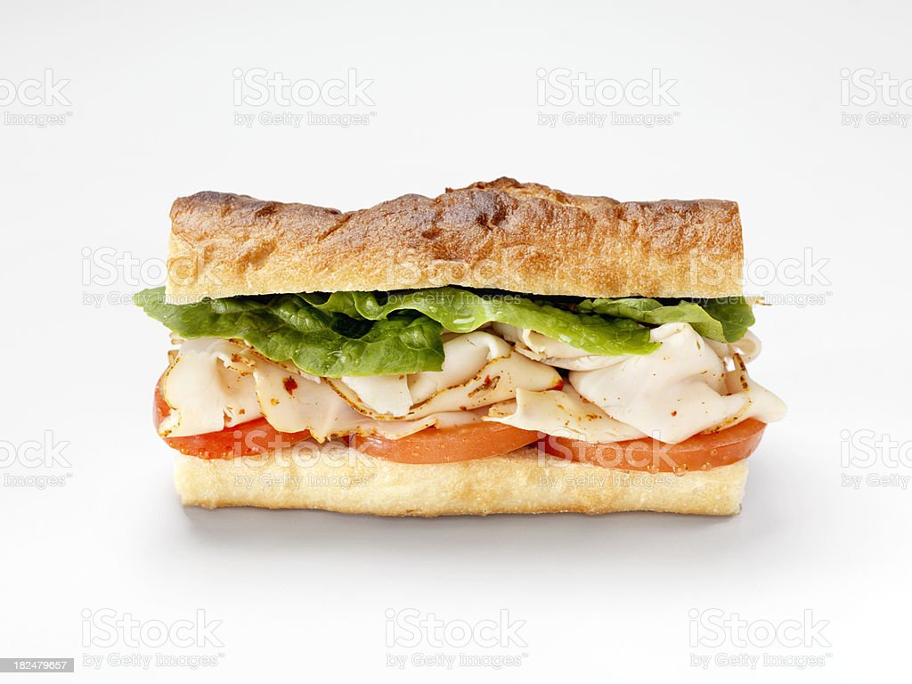 Turkey Sandwich on a Baguette stock photo