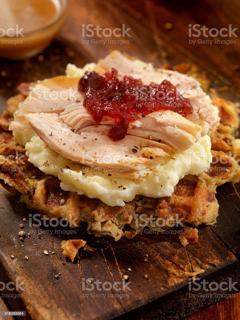 Turkey Sandwich on a Stuffing Waffel with Mash Potatoes stock photo