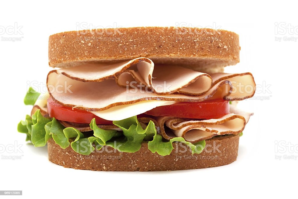 Turkey sandwich on whole wheat bread stock photo
