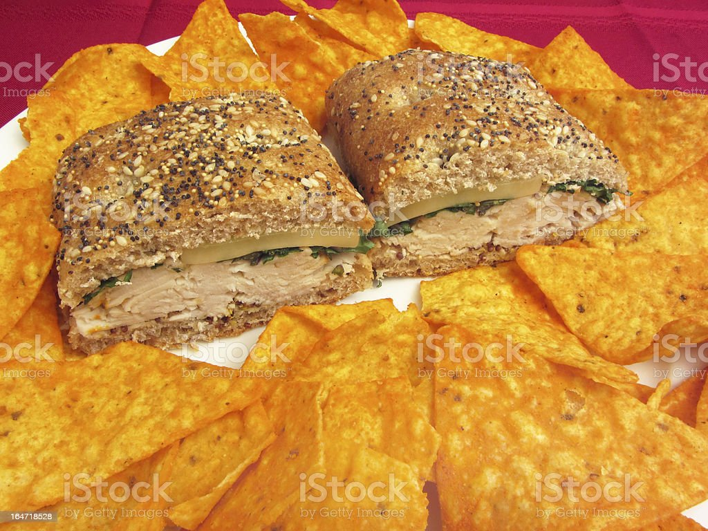 Turkey Sandwich With Chips royalty-free stock photo