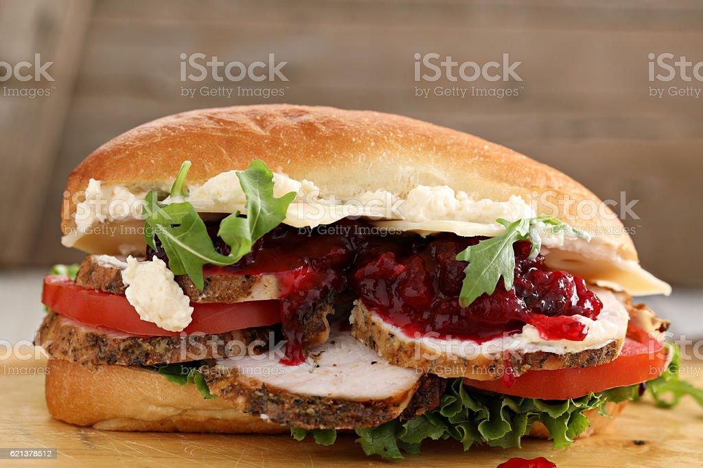Turkey Sandwich With Cranberry Sauce stock photo