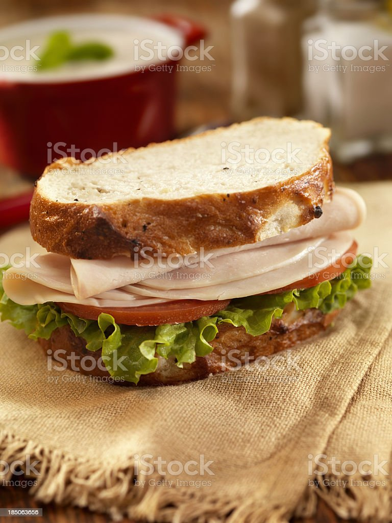 Turkey Sandwich with Mushroom Soup stock photo
