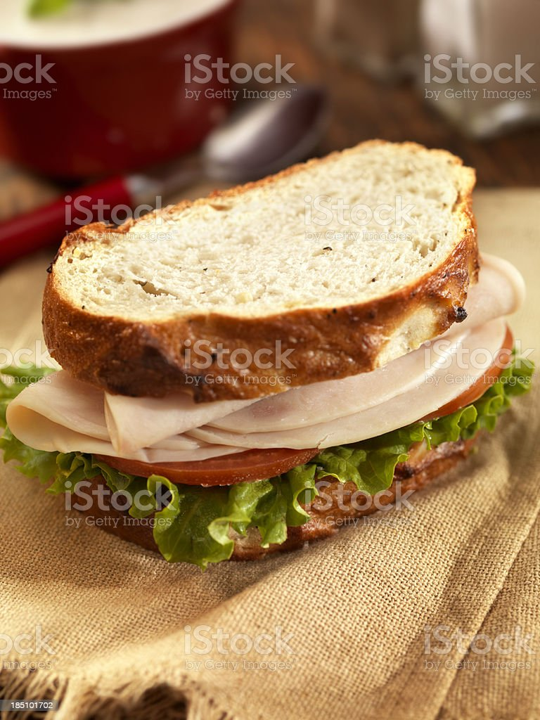 Turkey Sandwich with Mushroom Soup royalty-free stock photo