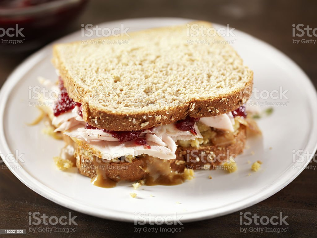 Turkey Sandwich with Stuffing and Cranberries royalty-free stock photo