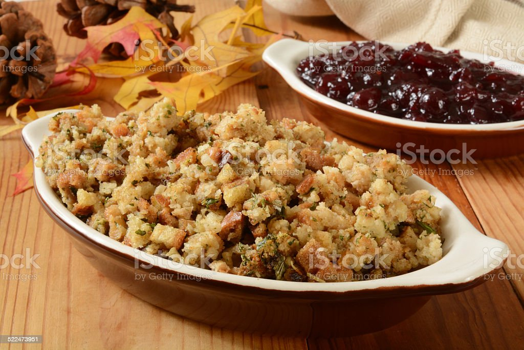 Turkey stuffing and cranberry sauce stock photo