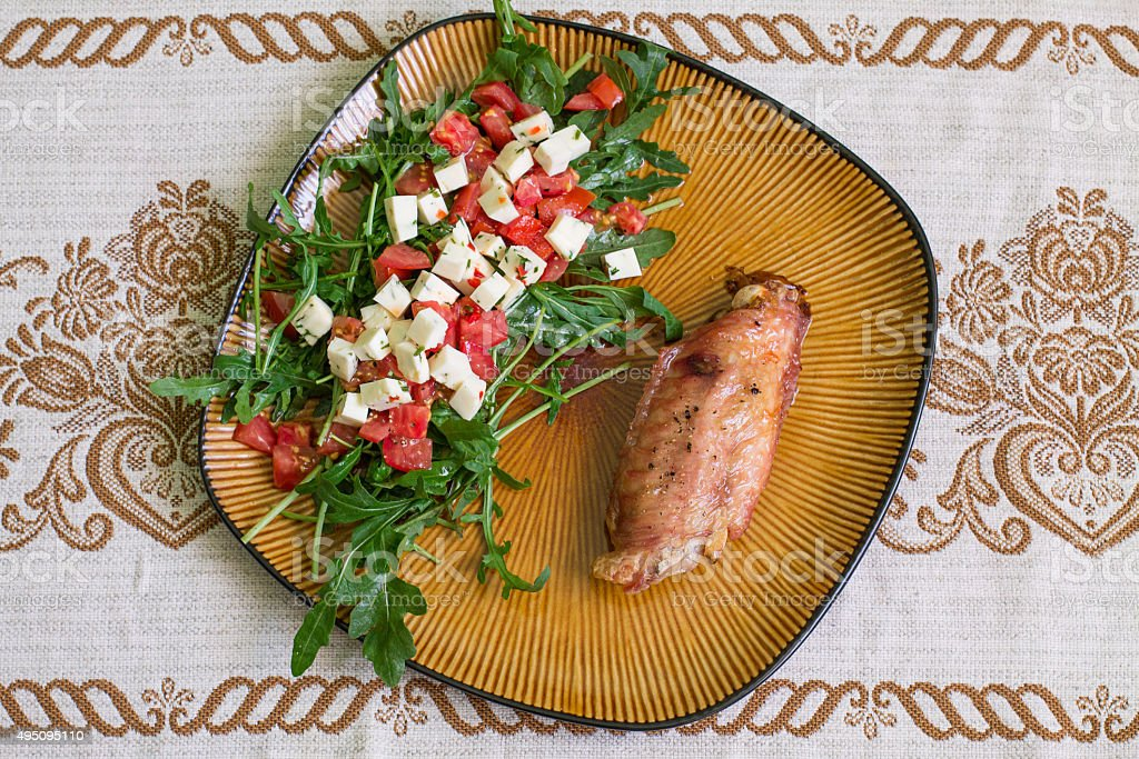 Turkey wing and salad stock photo