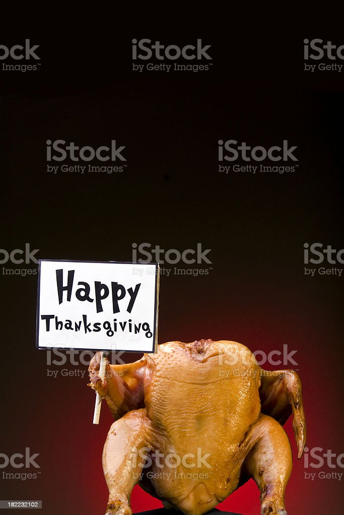 Turkey with sign - Happy Thanksgiving royalty-free stock photo