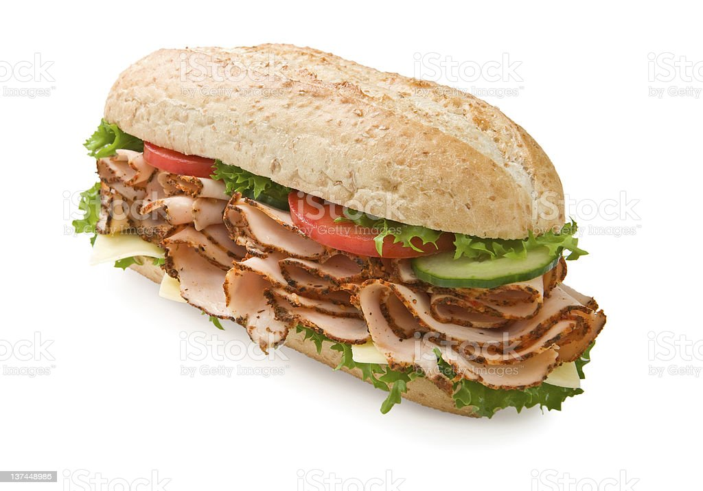 Turkey/chicken breast sandwich with cheese royalty-free stock photo