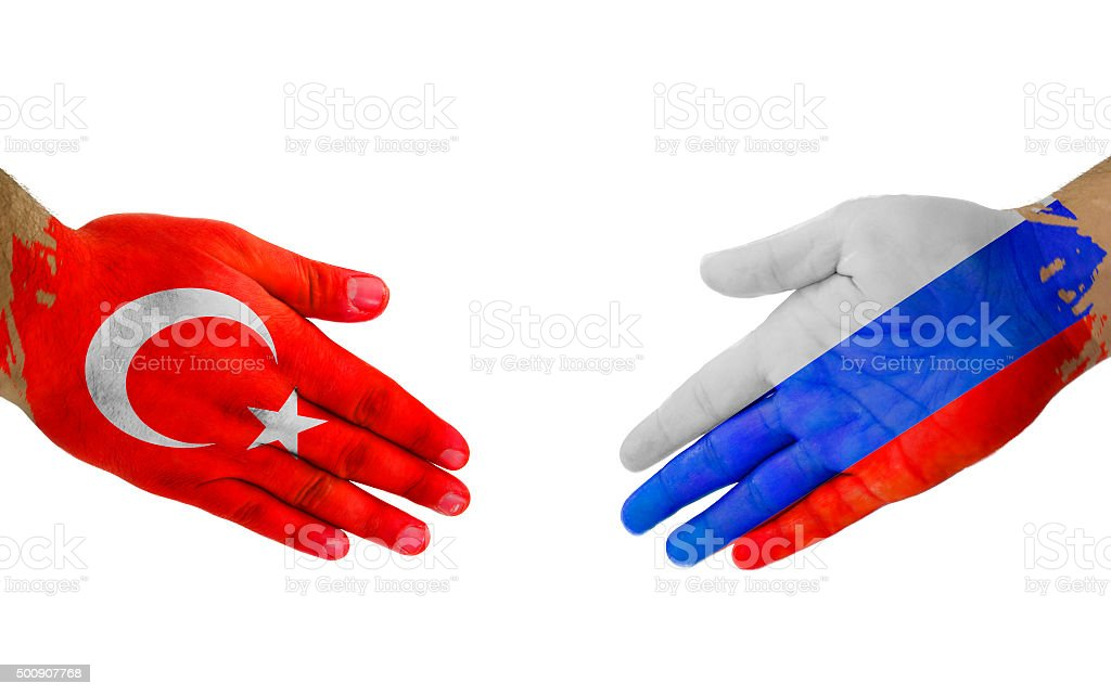 Turkey-Russia Handshake stock photo