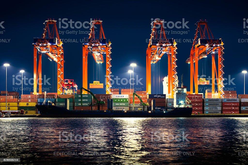 Turkey's biggest seaport Mersin at nignt stock photo