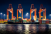 Turkey's biggest seaport Mersin at nignt