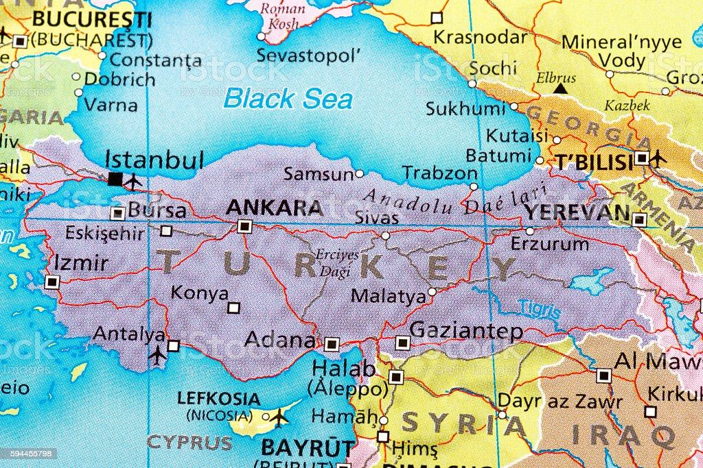 Turkey-Türkiye of map stock photo