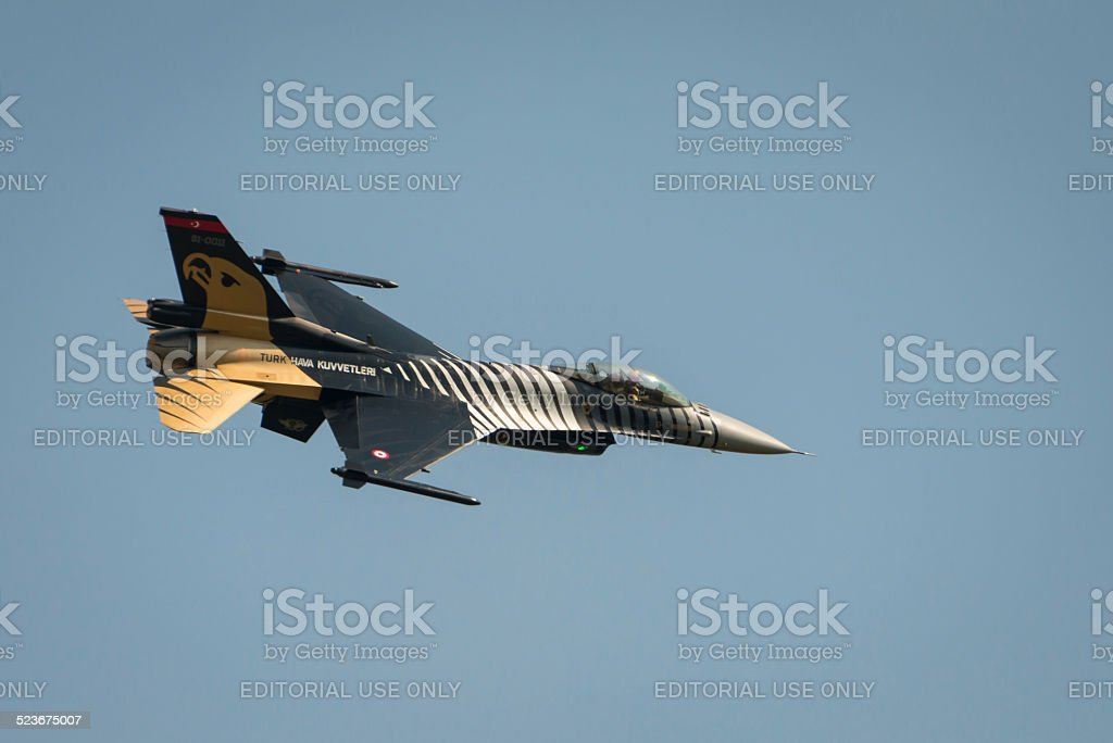 Turkish Airforce F16  solo diplay aircraft stock photo