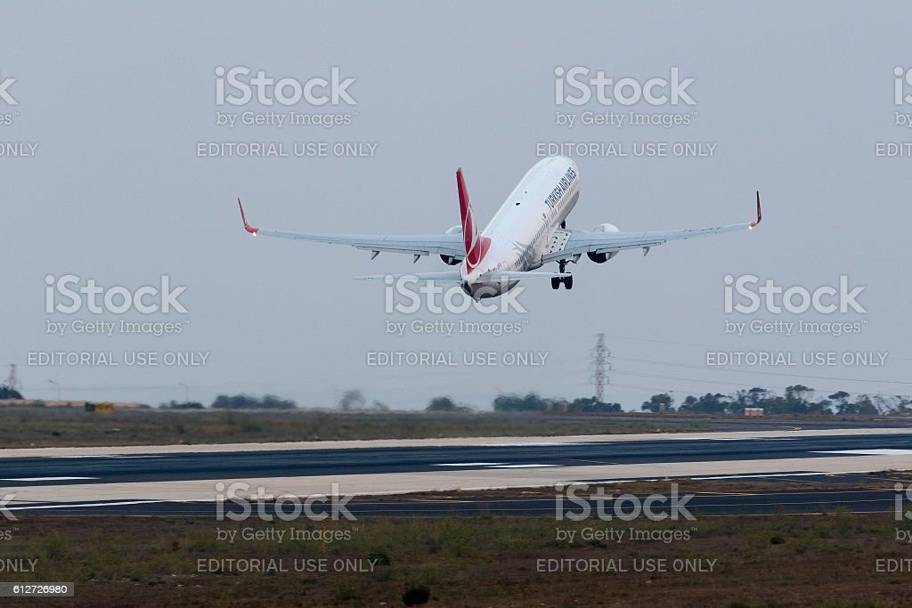 Turkish airlines 737 leaving the runway stock photo