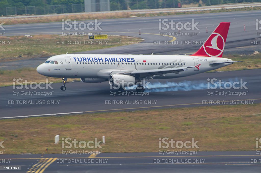 Turkish Airlines Airbus A-320 - Istanbul Ataturk Airport stock photo