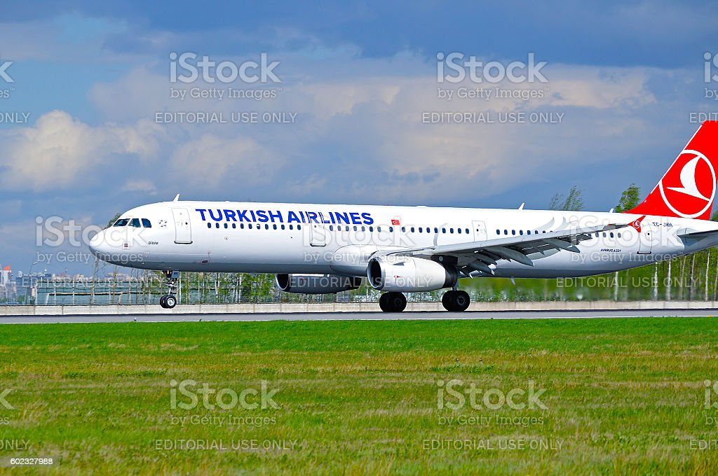 THY Turkish Airlines Airbus A321 airplane stock photo