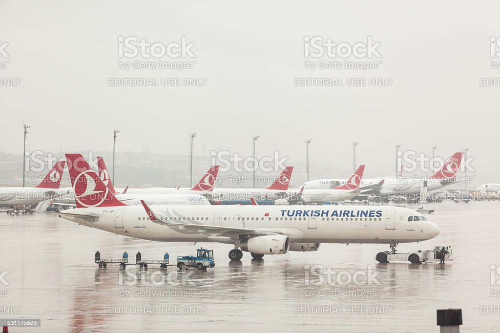 Turkish Airlines Airbus A321 at Ataturk Airport stock photo