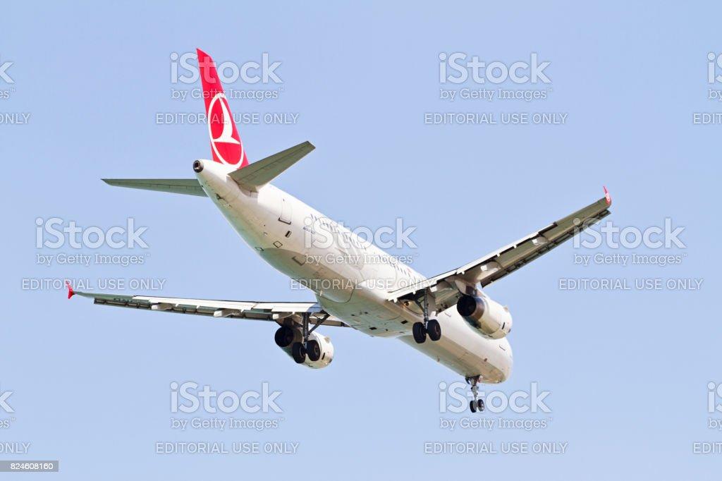Turkish Airlines Airplane Landing stock photo