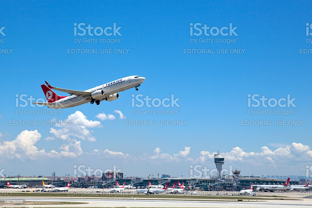 Turkish Airlines Airplane Take Off stock photo