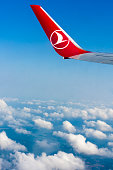 THY, Turkish Airlines airplane wing over the clouds