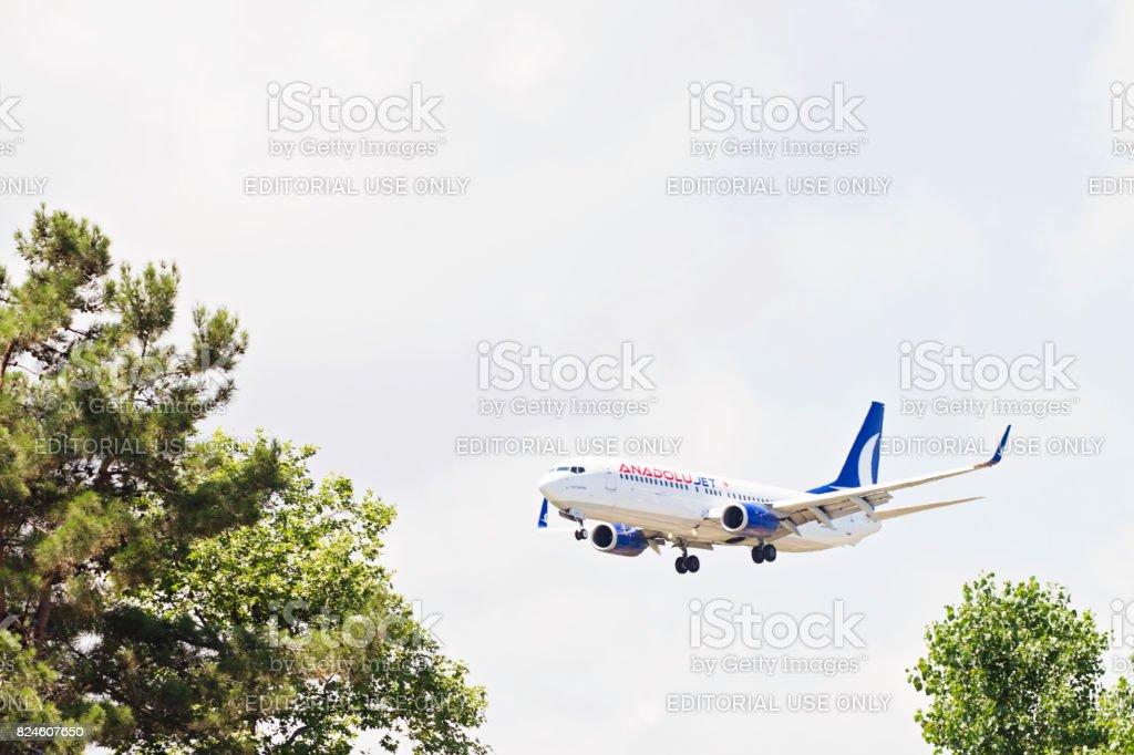 Turkish Airlines Anadolujet Airplane Landing stock photo