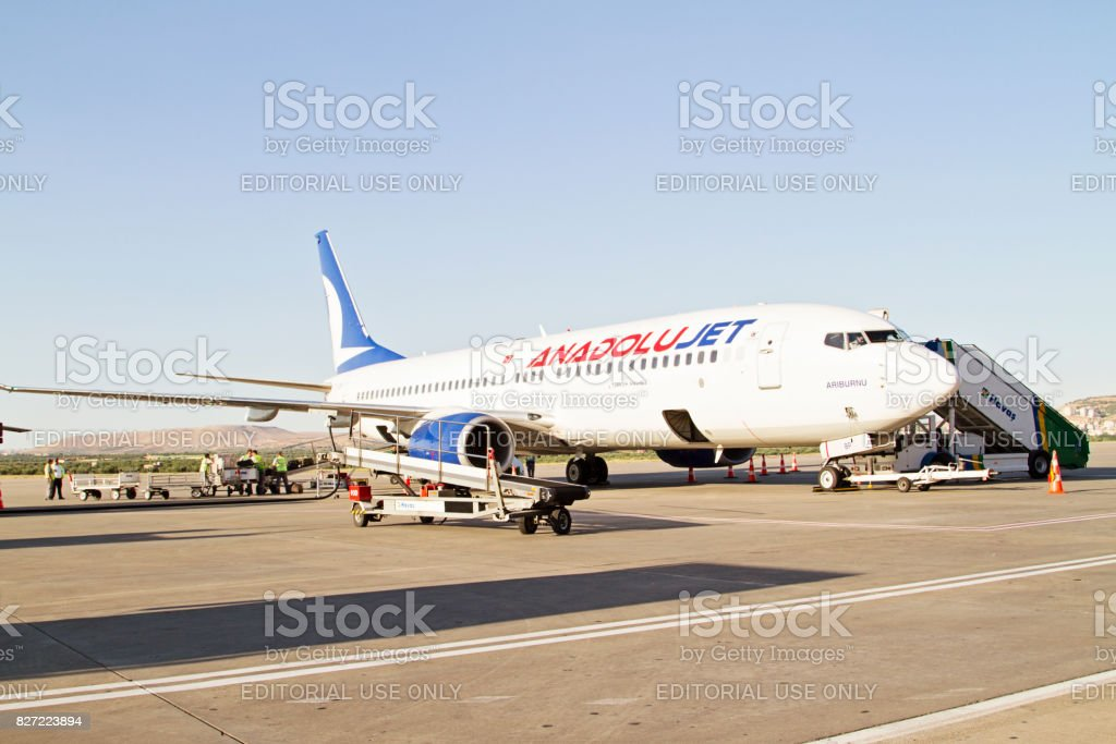 Turkish Airlines Anadolujet Airplane waiting for passengers stock photo