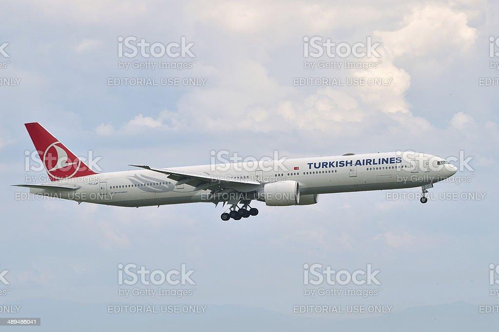 Turkish Airlines Boeing 777 landing stock photo