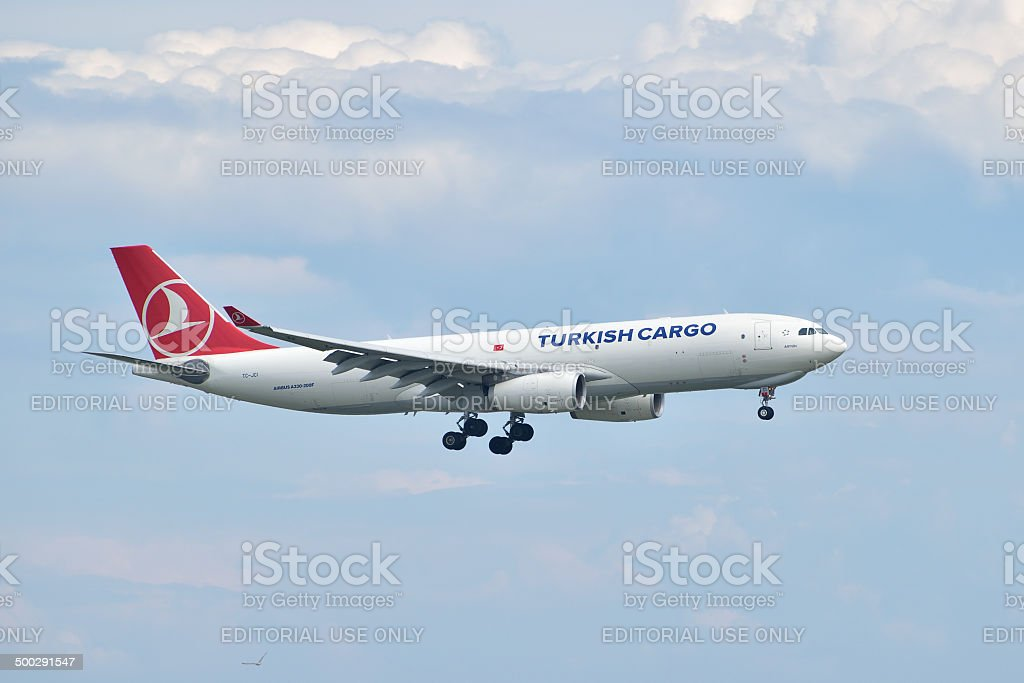 Turkish Airlines Cargo Airbus A330 landing stock photo