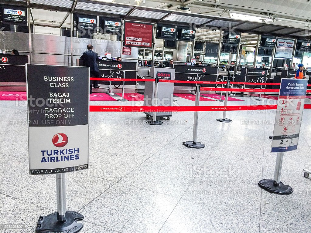 Turkish Airlines check-in in Ataturk Airport, Istanbul stock photo