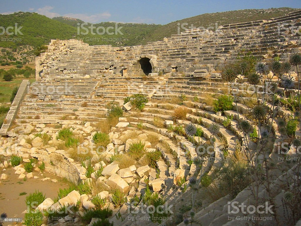 turkish amphitheater ruins royalty-free stock photo