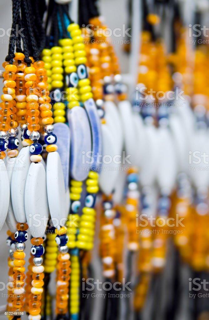 Turkish amulet against the evil eye bracelets Nazar bondzhuk stock photo