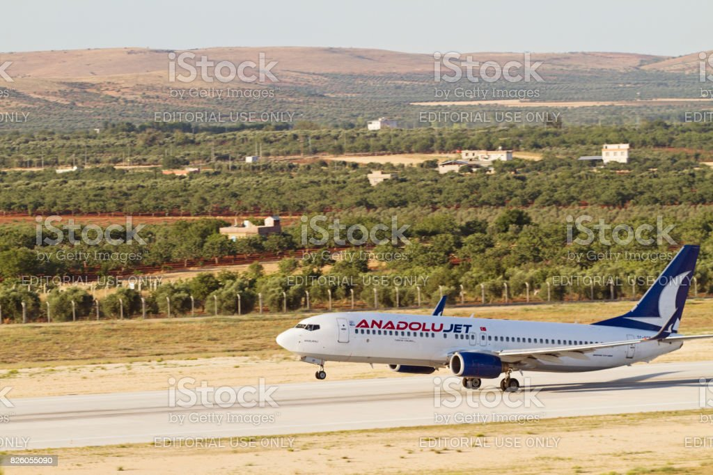 Turkish Anadolujet Airlines Airplane ready for take off in Gaziantep airport stock photo