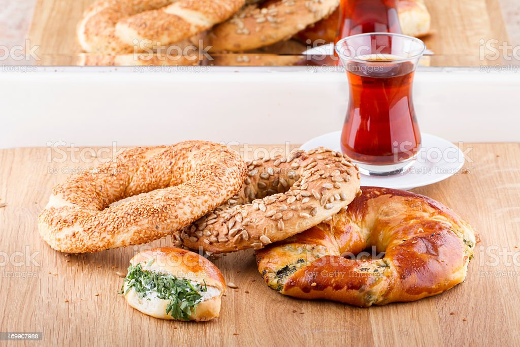 Turkish and Arabian Pastry Food Products on a Wooden Table stock photo