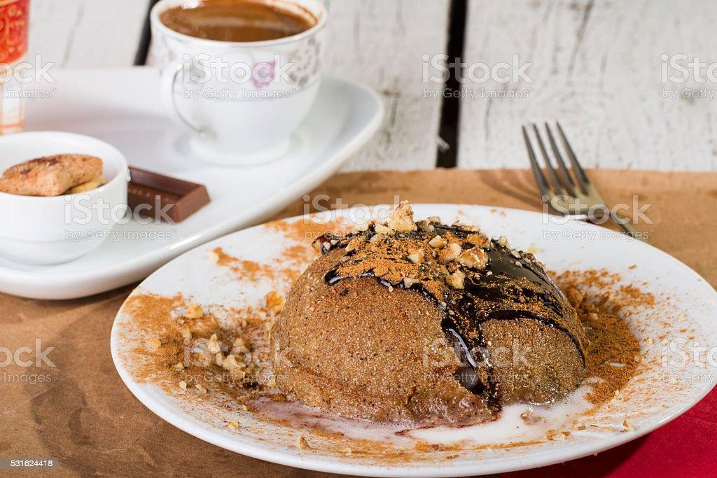 turkish and arabic traditional dessert irmik helvasi with icecream stock photo