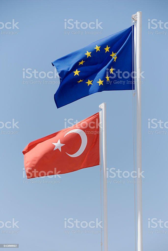 Turkish and EU flag royalty-free stock photo