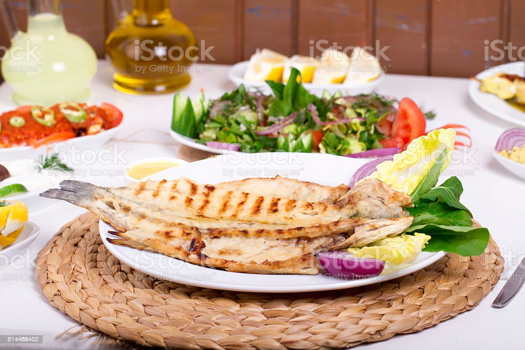 Turkish and Greek Table with Special Alcohol Drink Raki, Ouzo stock photo