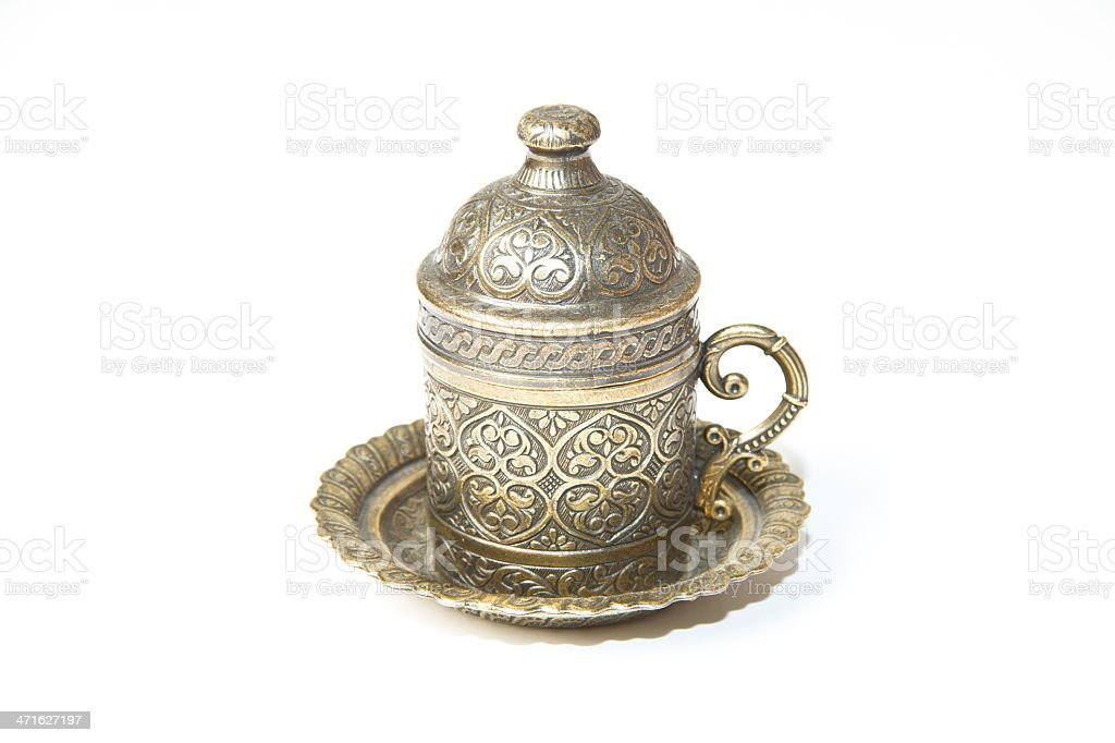 Turkish Antique Coffee Cup isolated on white royalty-free stock photo