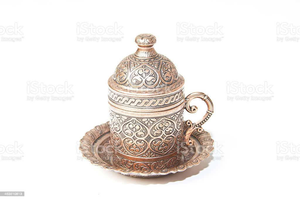 Turkish Antique Copper Coffee Cup isolated on white royalty-free stock photo