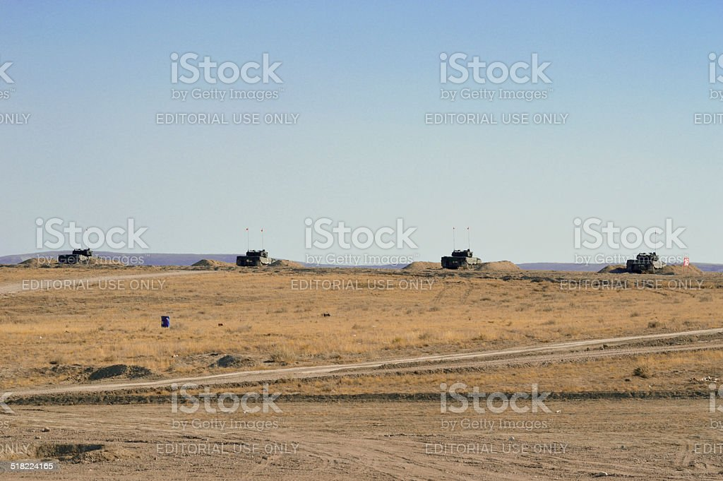 Turkish Army Tanks Took Up Position stock photo