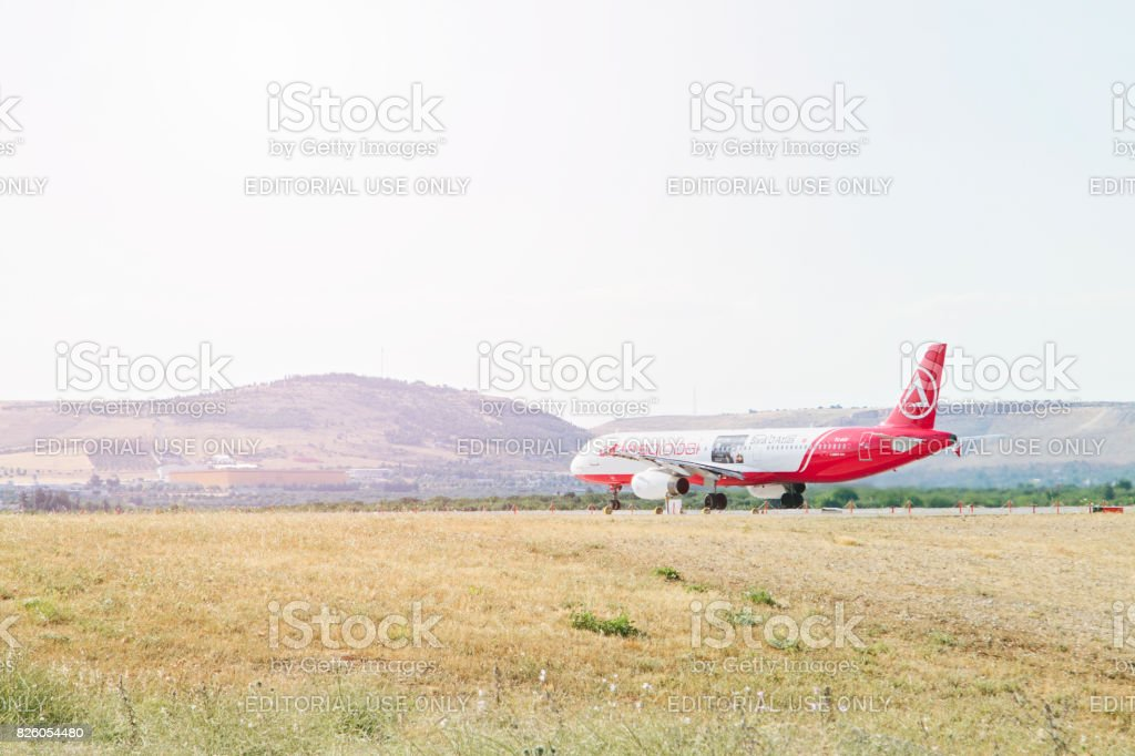 Turkish Atlasjet Airlines Airplane ready for take off stock photo