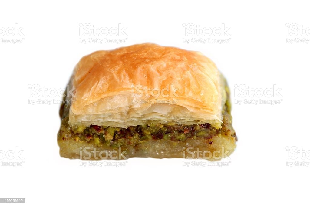 Turkish baklava isolated on white background. stock photo