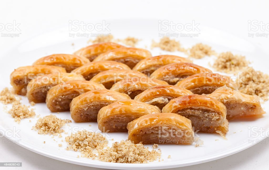 turkish baklava with waltnut stock photo