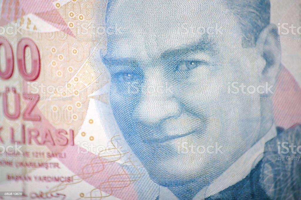 turkish banknote stock photo