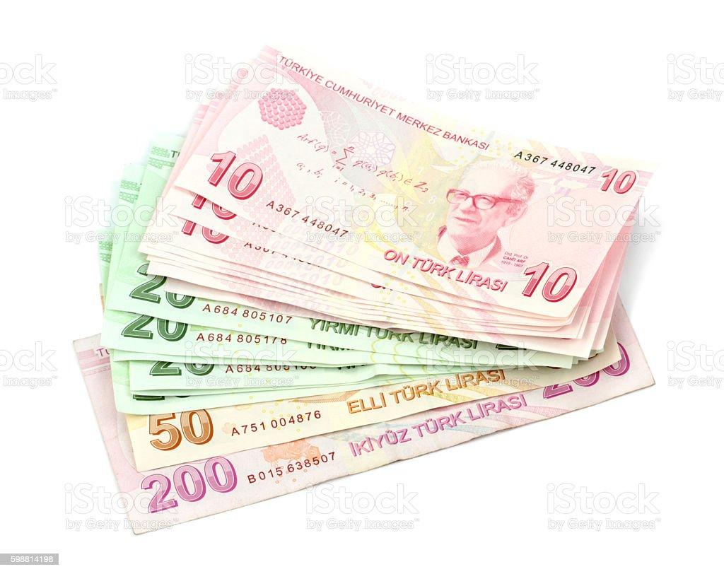 Turkish banknotes. Turkish Lira ( TL ) isolated on white stock photo
