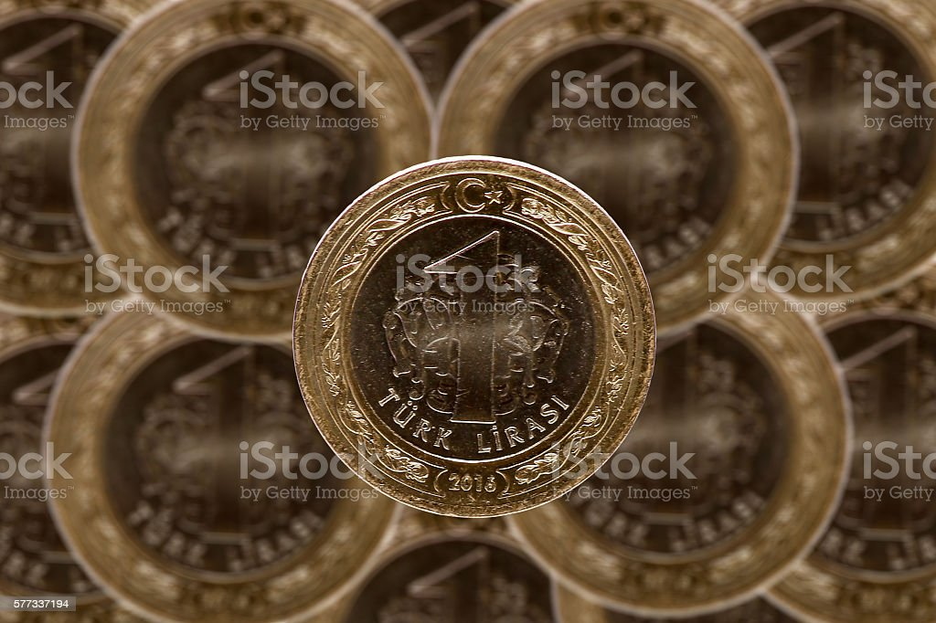 turkish bankonot coins stock photo