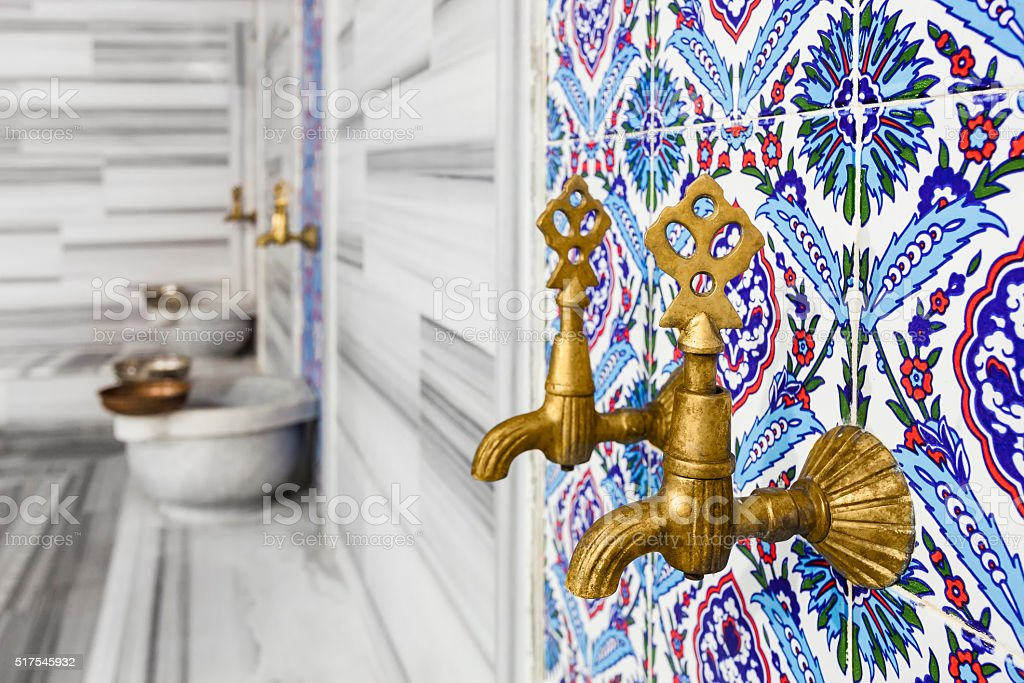 Turkish bath faucet stock photo
