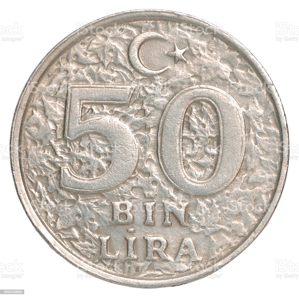 Turkish  Bin Lira coin stock photo