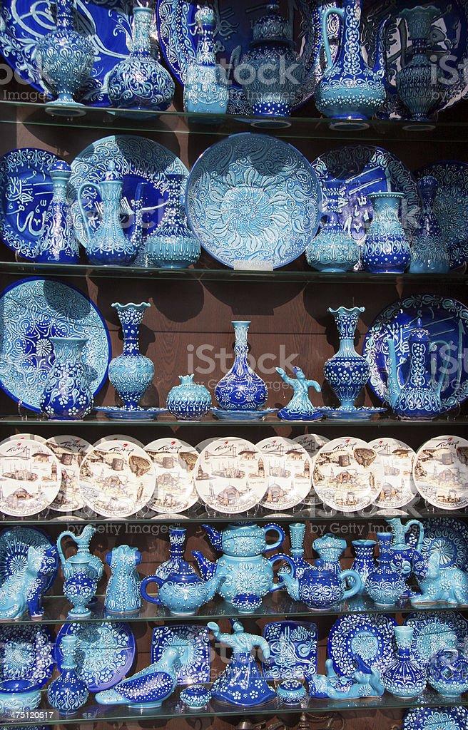 Turkish Blue Pottery, Istanbul, Turkey royalty-free stock photo