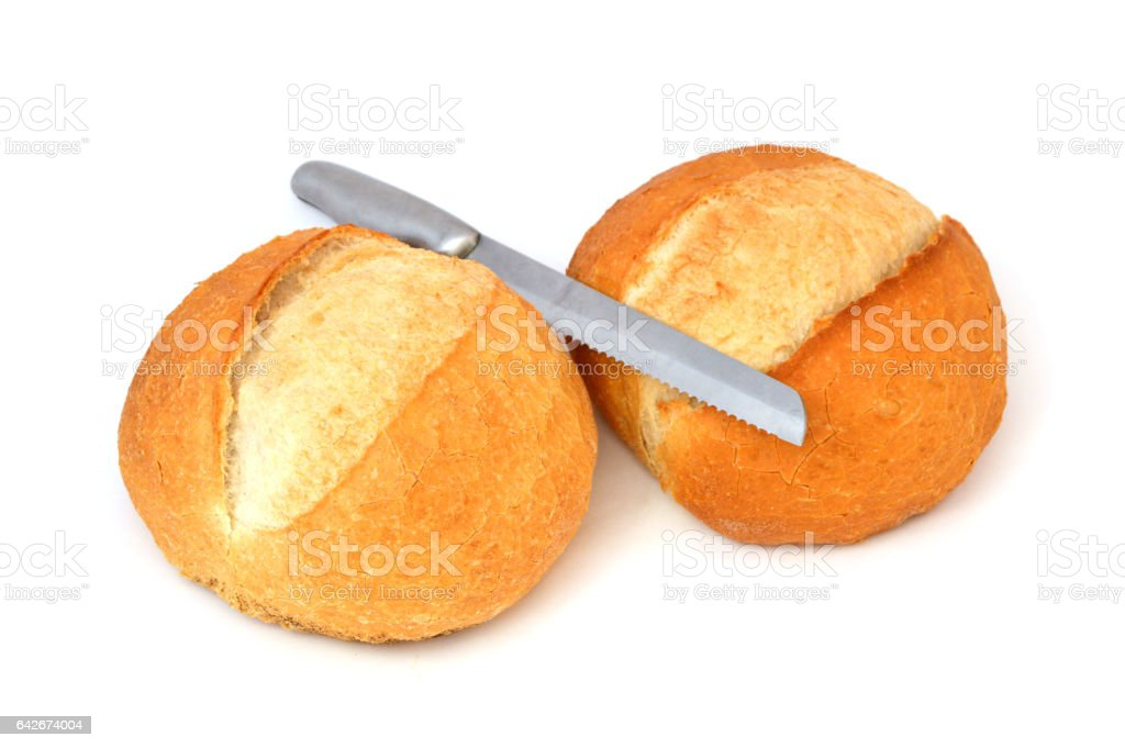 Turkish bread, knife and cutting board pictures stock photo