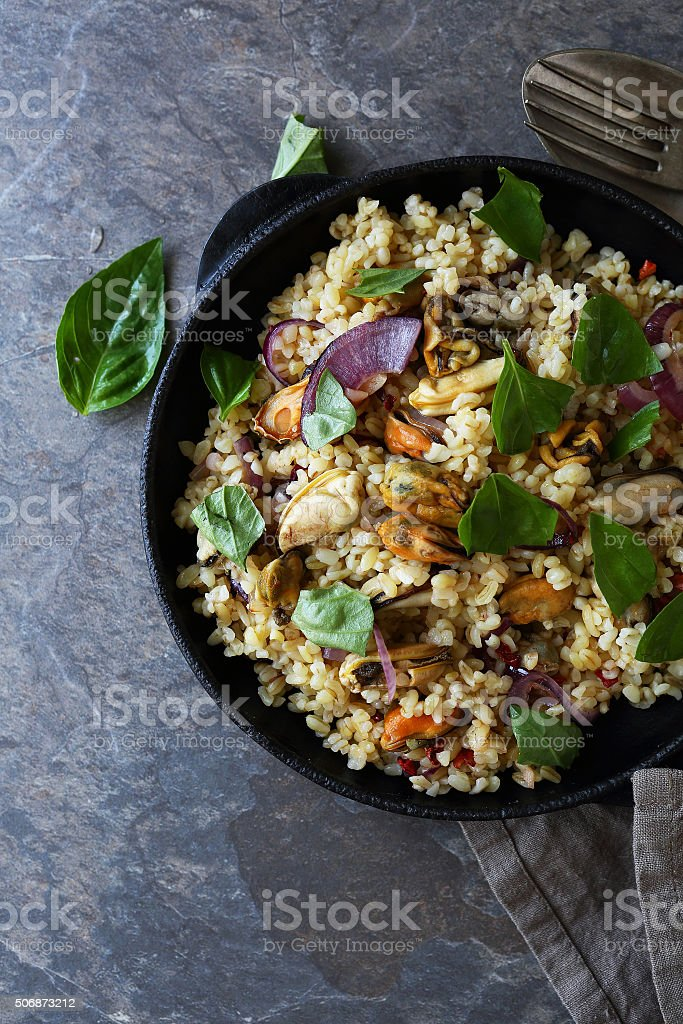 turkish bulgur with mussels stock photo